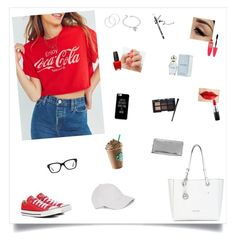 """Untitled #217"" by leah-taliaferro on Polyvore featuring Junk Food Clothing, Converse, Michael Kors, SoGloss, OPI, Melissa Odabash, MAC Cosmetics, Maybelline, Rimmel and West Coast Jewelry"