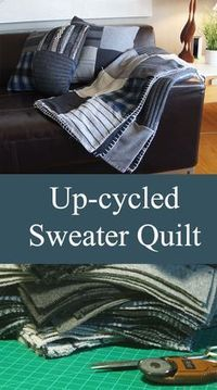 Up-cycled Sweater Quilt - Made By Barb - reuse those old knits I really hate to be wasteful. Post-winter purging time of sweaters and also my son& birthday, hatched a bright idea. Previously-loved sweaters ar. Fabric Crafts, Sewing Crafts, Sewing Projects, Sewing Tips, Diy Projects, Upcycled Crafts, Upcycled Clothing, Clothing Hacks, Upcycled Vintage
