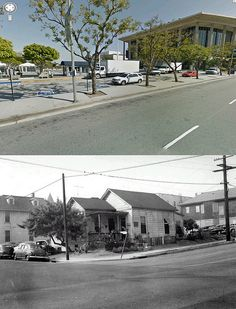 view looking at the south east corner intersection of hope street and court street 1955 and now by gsjansen, via Flickr
