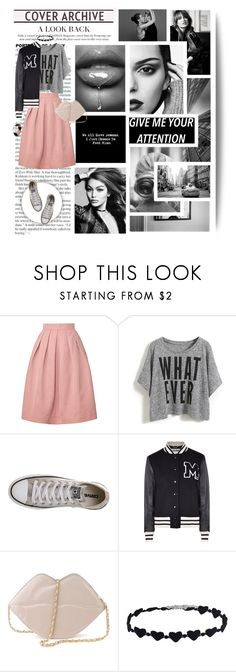 """""""I get inspiration from my everyday life"""" by kikusek ❤ liked on Polyvore featuring Orla Kiely, Converse, Moschino, casual, Pink, choker and statementtshirt"""