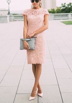 Beautiful coral lace dress, heels, gray purse. Elegant evening women fashion outfit clothing style apparel @roressclothes closet ideas