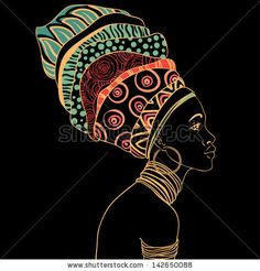Illustration of Portrait of beautiful African woman with earring vector art, clipart and stock vectors. Black Women Art, Black Art, African Tattoo, Beautiful African Women, Afrique Art, African Art Paintings, Art Premier, Illustration, African American Art