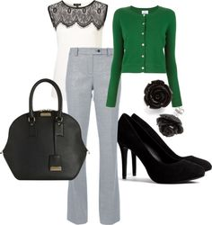 """""""Green & Black Work Outfit"""" by stephanie-ann-baird on Polyvore"""