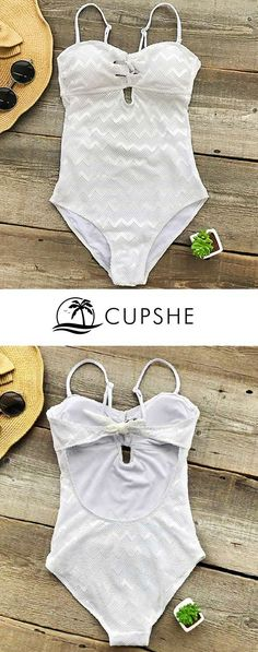 Be the White Snow at poolside & beach~ This suit takes you back to your girlhood. One-piece design, mesh splicing, purely white color. FREE shipping! Pack it for your next leave~
