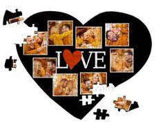 Collage di foto su puzzle a cuore A4