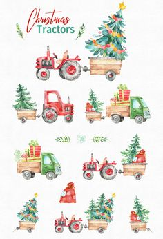 Watercolor holiday country clipart winter truck vintage gift diy tree decorations new year merry cute fun Christmas Clipart, Christmas Art, Vintage Christmas, Christmas Decorations, Christmas Ornaments, Tree Decorations, Winter Clipart, Christmas Quotes, Christmas Countdown