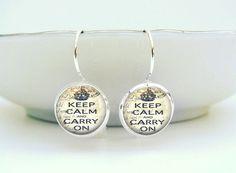 Keep Calm Earrings : Vintage Postcard Glass & Silver Metal Jewelry by Lizabettas