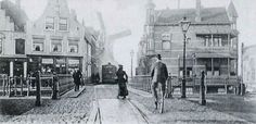 Historisch Delfshaven:  Mathenesserdijk, De kop en de sluis rond 1900. Rechts nu eetcafé Soif