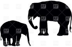 Adult and calf Indian elephant silhouette, 22531, Silhouettes ...
