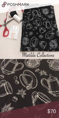 LulaRoe Coffee Tea Cup TC Leggings New. Black background with tea or coffee cups, tea kettle and coffee beans in white. Made in Indonesia, fits size 12-22. LuLaRoe Pants Leggings