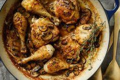 Chicken With Mixed Mushrooms and Cream Recipe - NYT Cooking Creamed Mushrooms, Stuffed Mushrooms, Stuffed Peppers, Oven Roasted Chicken, Roast Chicken, Mushroom Chicken, Gluten Free Chicken, Chicken Seasoning, Cream Recipes