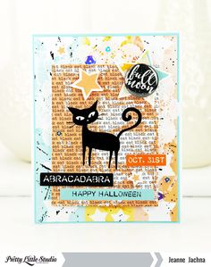 Cute cat on this handmade Halloween card by Jeanne Jachna