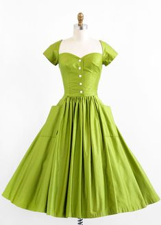 1950s luscious lime cotton #dress #1950s #partydress #vintage #frock #silk #retro #teadress #petticoat #romantic #feminine #fashion