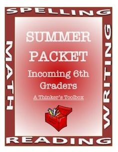 """Summer Packet - Incoming 6th Graders by A Thinker's Toolbox. This Summer REVIEW Packet requires NO PREP and can help your 5th graders prepare for 6th grade and reduce any """"summer slide""""."""