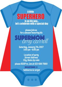 Superhero baby shower invite, colors can be customized to fit your theme and copy to fit your party by 4evernalways. Explore more products on http://4evernalways.etsy.com