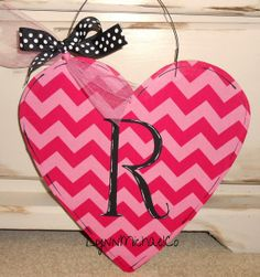 Chevron Heart Door Hanger Personalized Valentines by LynnMichaelCo, $22.00