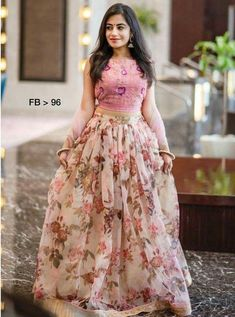 Floral lehenga - Floral print Pink organza lehenga with pink blouse and pink dupatta Prefect dress for bridesmaids or Gown Party Wear, Party Wear Indian Dresses, Designer Party Wear Dresses, Indian Gowns Dresses, Party Wear Lehenga, Indian Fashion Dresses, Dress Indian Style, Indian Designer Outfits, Lehenga Choli Wedding