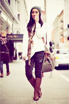 boots, boots, boots.    Outfit is cute too ^^