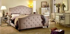 Best Master 5 pc francille collection transitional style taupe fabric upholstered queen bedroom set with mirrored fronts Queen Bedroom, Queen Bedding Sets, Queen Beds, Bedroom Sets, Nailhead Headboard, Upholstered Beds, Tufted Bed, Mirrored Nightstand, Dresser Mirror