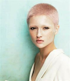 buzzed cut in pink Pixie Cut Color, Cut And Color, Short Hair Cuts, Short Hair Styles, Pixie Cuts, Short Pixie, Buzz Cut Styles, Really Short Haircuts, Buzz Cut Women