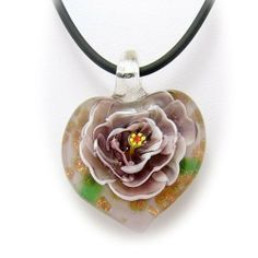 Purple Murano Glass Flower Heart Pendant 18 Inch Rubber Cord Necklace Sterling Silver Clasp Pendants by Joyful Creations. $9.99. Ready to wear with included rubber cord necklace. Beautiful handmade Murano-style glass pendant