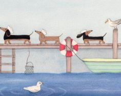 Dachshunds doxies in pink ribbons befriend by watercolorqueen