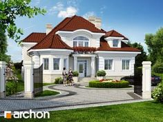 Rezydencja w Myślenicach 2 - House design Bungalow Style House, Bungalow Haus Design, House Plans Mansion, Dream House Plans, Minimalist House Design, Modern House Design, Style At Home, India House, House Design Pictures