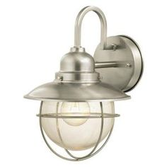 Hampton Bay Wall-Mount Outdoor Brushed Nickel Lantern.  We will have three of these in our main bathroom when we are finished with the remodel!  They are $32.97 each@Home Depot.