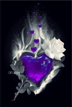 Rose & Heart Wallpaper By Artist Unknown Heart Wallpaper, Love Wallpaper, Cellphone Wallpaper, Wallpaper Backgrounds, Love Heart Images, Heart Pictures, Pretty Pictures, Purple Love, All Things Purple