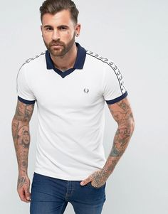 FRED PERRY SPORTS AUTHENTIC SLIM FIT TAPED PIQUE POLO SHIRT WHITE - WHITE.   fredperry  cloth   d71699dff48
