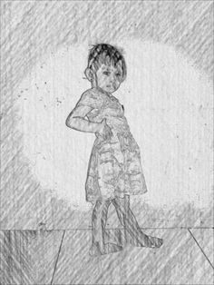 My son - editing sketcher bw