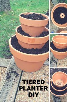 Make a tiered planter out of terra cotta pots. - Pflanzen - Make a tiered planter out of terra cotta pots. Stacked Flower Pots, Stacked Pots, Painted Flower Pots, Garden Yard Ideas, Garden Projects, Garden Pots, Garden Crafts, Herb Garden, Planter Garden