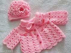 HANDMADE Crochet / Knit Pink Baby Girl Cardigan / Matinee Jacket Coat & Hat Set Informations About Crochet blanket Pin You can easily use my. Baby Girl Cardigans, Baby Girl Hats, Baby Sweaters, Girl With Hat, Baby Girl Crochet, Crochet Baby Clothes, Crochet Shoes, Baby Cardigan Knitting Pattern, Crochet Cardigan Pattern