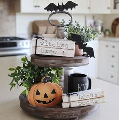 """Antique Stamped Books - Halloween Farmhouse Style: Hocus Pocus, Witches Brew - Tier, Hutch and Shelf Decor - Antique looking Halloween or Fall themed """"Hocus Pocus"""" stamped books. Happy Halloween Banner, Diy Halloween, Halloween Tisch, Farmhouse Halloween, Halloween Office, Halloween Mantel, Halloween Home Decor, Fall Home Decor, Holidays Halloween"""