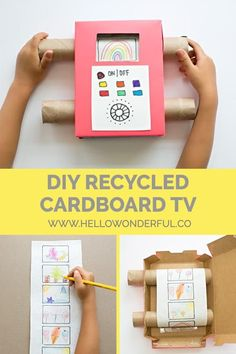 Recycle cardboard and use your child's art to make this fun, interactive DIY toy! Recycle cardboard and use your child's art to make this fun, interactive DIY toy! Recycled Toys, Recycled Crafts Kids, Recycled Art Projects, Projects For Kids, Diy For Kids, Diy Projects, Recycler Diy, Kids Crafts, Easy Crafts