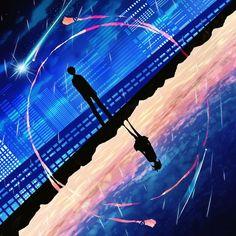 Image d'anime 1000x1000 avec kimi no na wa miyamizu mitsuha tachibana taki harada miyuki tall image short hair sky cloud (clouds) standing night full body night sky city mountain cityscape silhouette city lights shooting star girl male