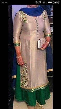 #pintrest@Dixna deol Punjabi Salwar Suits, Designer Punjabi Suits, Punjabi Dress, Indian Designer Wear, Patiala Salwar, Neck Designs For Suits, Kurti Neck Designs, Plajo Suit, Brocade Suits