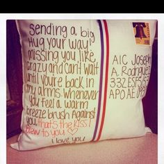 a Hug A postcard pillow! Send your sisters studying abroad a care package that will help them feel the sisterhood!A postcard pillow! Send your sisters studying abroad a care package that will help them feel the sisterhood! Cute Gifts, Diy Gifts, Great Gifts, Special Gifts, Diy Cadeau, Long Distance Love, Long Distance Friend Gifts, Little Presents, Youre My Person