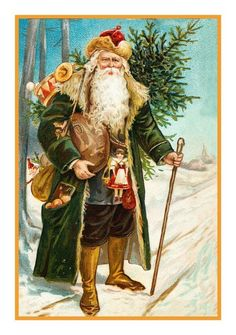 Victorian Father Christmas Santa Claus 13 Counted Cross Stitch Chart | eBay