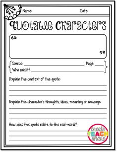 Create●Teach●Share: Responding to Quotes from The One and Only Ivan {Quotable Characters Freebie}