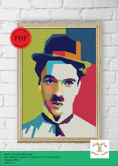 Cross Stitch Designs, Cross Stitch Patterns, Cross Stitches, Pop Art Posters, Easy Cross, Cross Stitch Pictures, Charlie Chaplin, Needlepoint Canvases, Le Point