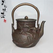 Extra large 2.0l olla de hierro fundido olla de hierro tetera de hierro de hierro de agua olla juego de té tetera(China (Mainland))