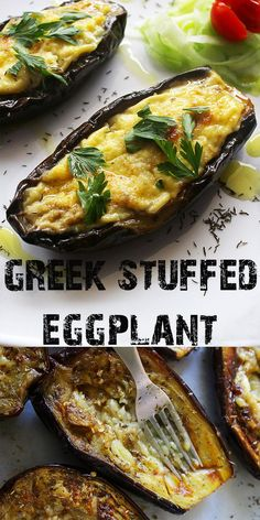 Greek stuffed eggplant is one of the heartiest and most filling dishes of the traditional Greek cuisine. Three delicious layers: baked eggplants, juicy lamb (or beef) meat sauce, and béchamel sauce or at least the Greek version of it. Vegetable Recipes, Meat Recipes, Real Food Recipes, Vegetarian Recipes, Dinner Recipes, Cooking Recipes, Healthy Recipes, Chicken Recipes, Sushi Recipes