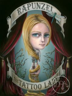 Rapunzel The Tattoo Lady Giclee on Watercolor Paper by deannaadona, $45.00