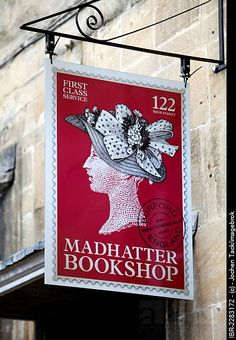 Sign of the Madhatter Bookshop, High Street, Burford, Oxfordshire, Great Britain