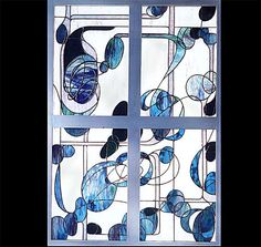 Blues In Motion Stained Glass by lightcurves on Etsy, $4200.00