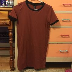 Forever 21 Ringer T-Shirt Dress Worn once and washed once! Rust/Black coloring! Forever 21 Dresses