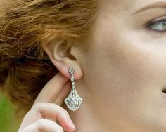 Wedding Earrings - New In Drop Filigree And Crystal Earrings, Vicky