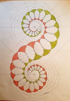 Drawing In geometry Geometric Drawing, Geometric Designs, Geometric Shapes, Sacred Geometry Art, Fractal Geometry, Circle Geometry, Sacred Geometry Patterns, Spirograph, Math Art