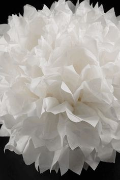 """We could make a bunch of paper pom poms like this to supplement lighted ones on the ceiling. White Paper Pom Poms (Set of 4) 